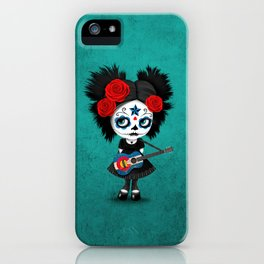 Day of the Dead Girl Playing Colorado Flag Guitar iPhone Case