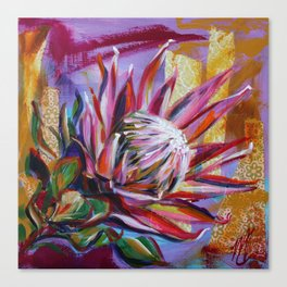 The King Protea - hot pink and yellow ochre Canvas Print