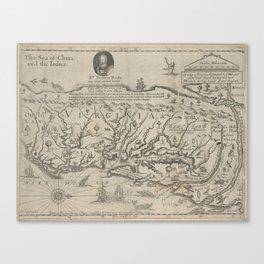 Vintage Map of Virginia (1651) Canvas Print