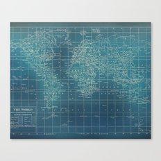 Grunge World Map Canvas Print
