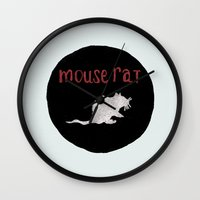 rat Wall Clocks featuring Mouse Rat by Shelby Ticsay