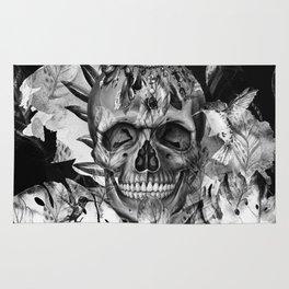 Black White Boho Skull Rug