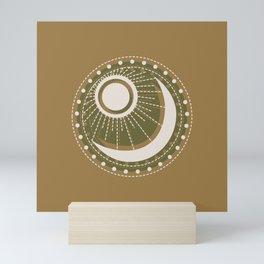 Moonlit Love - Mid Century Modern Gold Mini Art Print