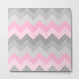Pink Grey Gray Chevron Girl  Metal Print