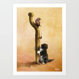 The Cat, the Bird and the Mouse Art Print