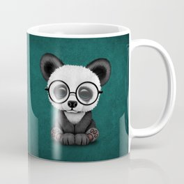 Cute Panda Bear Cub with Eye Glasses on Teal Blue Coffee Mug