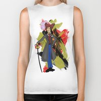 captain hook Biker Tanks featuring Disneyland Captain Hook - Evil Relations by Joey Noble