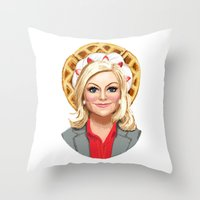 leslie knope Throw Pillows featuring Leslie Knope, Goddess of Girl Power & Waffles by Kirsten Sevig