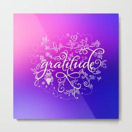 Gratitude Purply Pink Metal Print