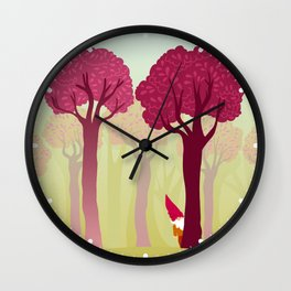 colorful forest with cute dwarf Wall Clock