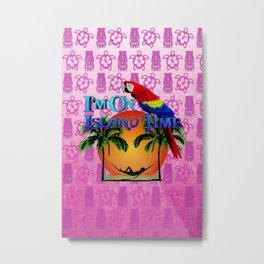 Pink Tiki Island Time And Parrot Metal Print