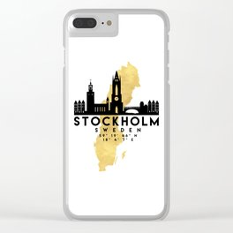STOCKHOLM SWEDEN SILHOUETTE SKYLINE MAP ART Clear iPhone Case