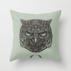 Warrior Owl Face Throw Pillow