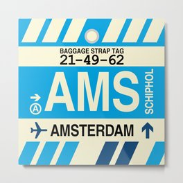 AMS Amsterdam • Airport Code and Vintage Baggage Tag Design Metal Print