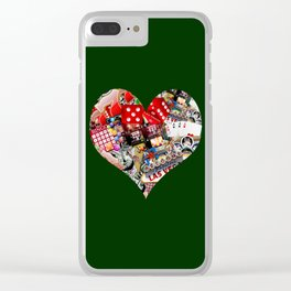 Heart Playing Card Shape - Las Vegas Icons Clear iPhone Case