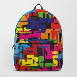 Bright pattern of puzzle pieces. Summer background for decoration of fabric and postcards with neon Backpack