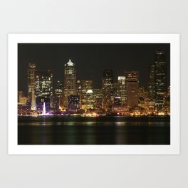 Seattle Skyline - Alki (Pink Spinning Wheel) Art Print