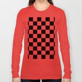 Black & White Checkered Pattern Long Sleeve T-shirt