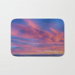 Pink Blue Sky Sunset Bath Mat
