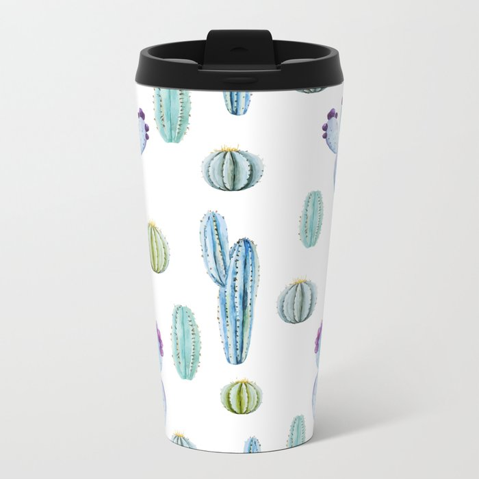 Cactus Pattern 01 Metal Travel Mug