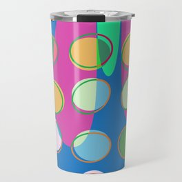 Nouveau Retro Graphic Teal Green Blues Multi Colored Travel Mug