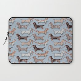 Origami Dachshunds sausage dogs // pale blue background Laptop Sleeve