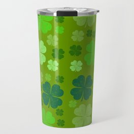 Saint Patrick's Day, Four Leaf Clovers - Green Travel Mug