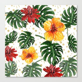 Tropical Leaves with Hibiscus and Red Flower Canvas Print