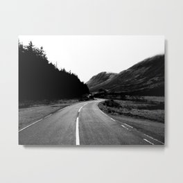 Road through the Glen - B/W Metal Print