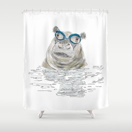 Hippo With Swimming Goggles Shower Curtain