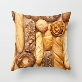 Bread baking rolls and croissants background Throw Pillow