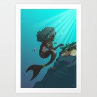 Mermaid Black Art Print