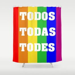 Flag with LGBT colors with inclusive language Shower Curtain