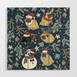 Christmas Pugs Wood Wall Art