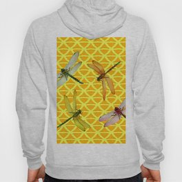 DRAGONFLIES PATTERNED YELLOW-BROWN ORIENTAL SCREEN Hoody
