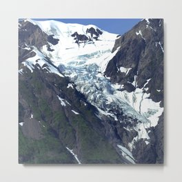 """Canadian Mountainside Snowy """"Moose Angels"""" And Blue Ice Metal Print"""