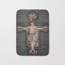 Medieval Style Jesus Christ on Cross Sculpture Artwork Bath Mat