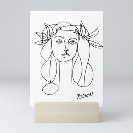 Woman Wearing Flower Crown, Minimalist Line Art Mini Art Print
