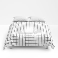 Geometric Black and White Grid Print Comforters