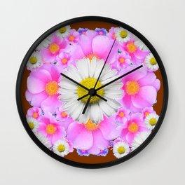 Chocolate Brown Color Shasta Daisies & Rose Pattern Garden Art Wall Clock