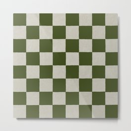 checkerboard hand-painted-olive Metal Print