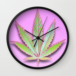 Leaf on Pink Wall Clock