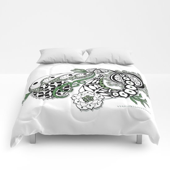 Zentangle Design - Black, White and Sage Illustration Comforters