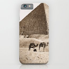 Vintage picture of Egypt Pyramids and Sphinx at Giza iPhone Case