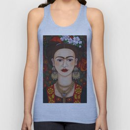 Frida with butterflies Unisex Tank Top
