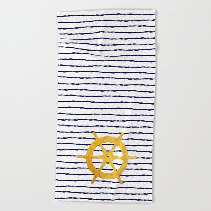 Marine pattern - Navy blue white striped with golden wheel Beach Towel