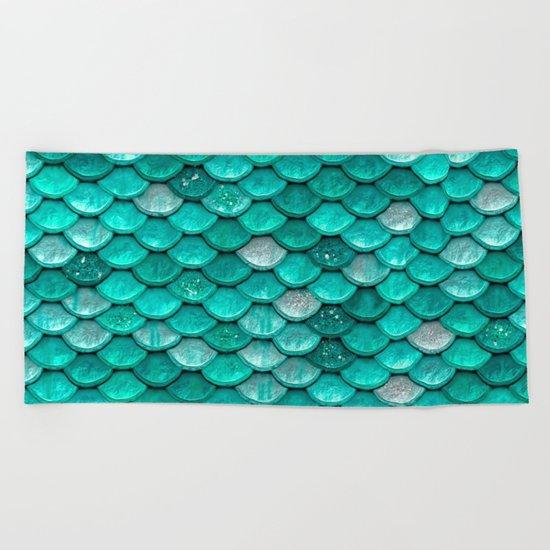 Aqua & mint mermaid glitter scales - Luxury mermaidscales Beach Towel