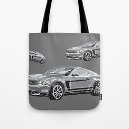 Mustang Digital Painting - Greyscale Tote Bag
