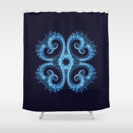 Blue Fractal Mandala Shower Curtain