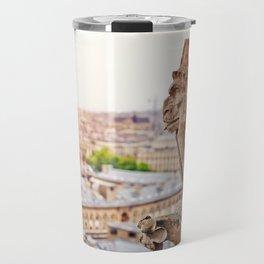 Thinking figure Chimera or Gargoyle in Paris, France, Basilica of Notre Dame Travel Mug